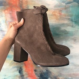 Bettye ankle real suede boots bows